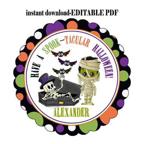 EDITABLE FILE-INSTANT DOWNLOAD-Halloween Spook-tacular Frankenstein with skeleton and bats-Personalized Halloween boys Tag-Printable 2.5'' Tags-Happy Halloween 2.5 inches Tags- Party Favor DIY Stickers - Tags -Digital file