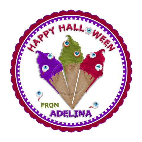 Happy Halloween Custom Printable 2.5'' Tags-Personalized Happy Halloween-Ice cream Monsters 2.5 inches Tags- Party Favor DIY Stickers - Tags -Digital file