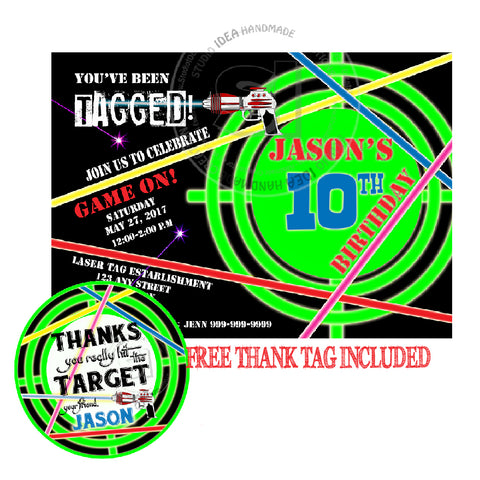 Laser Target Party Printable Invitation with FREE Thank you Tag-DIY Digital File-Laser Theme Birthday Invitation -You Print