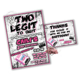 2 Legit 2 Quit Party Printable Invitation with FREE Thank you Card-DIY Digital File-2 Legit 2 Quit Music Birthday Invitation -You Print