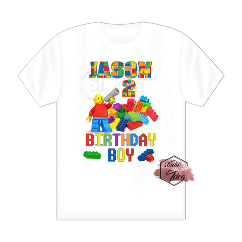 CUSTOMIZED-IRON-ON TRANSFER-BIRTHDAY BOY OR GIRL- BUILDING BLOCKS-LEGO Inspired Theme IRON ON Transfer- Birthday Boy or Girl Customized Printable file                                 Party T-Shirt prints