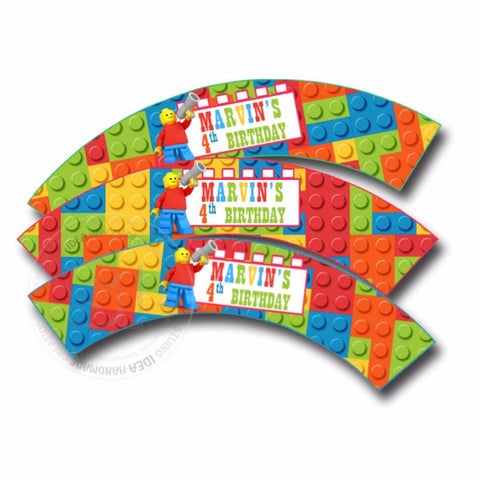 Building Block Customized Printable Cupcake Wrappers - Personalized  Liners- YOU PRINT - Digital File