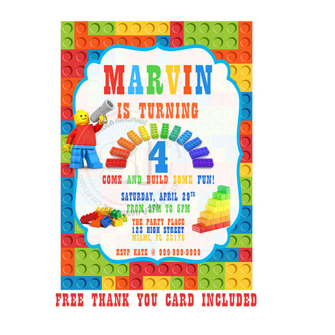 Custom Building Blocks Birthday Invitation With FREE Matching Thank You Card Printable Invitations Personalized