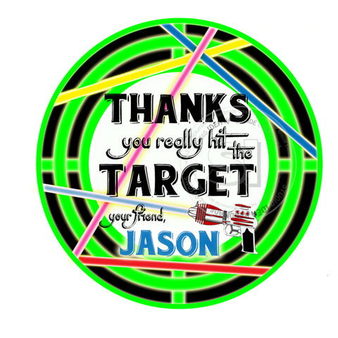 Custom Laser Party Printable Thank you Tag-DIY Digital File-Laser Target Birthday Tags-Stickers -You Print