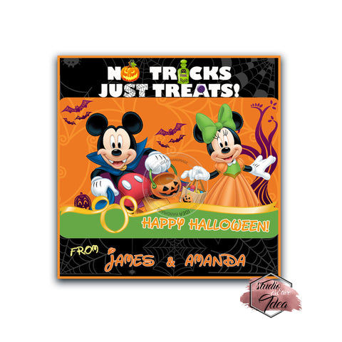 Minnie Mickey in Costumes - Happy Halloween Custom Printable 2.5'' Tags-Personalized Happy Halloween Disney-2.5 inches Tags- Party Favor DIY Stickers - Tags -Digital file