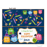 Happy Halloween Monsters Customized Printable Bag Toppers-Personalized Happy Halloween- Candies Bag tag-Party Favor DIY Tags-2 sided sweets bag topper