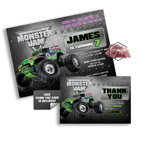 Monster Truck Grave Digger Party Printable Invitation With Free Than Studio Cr8tive Idea