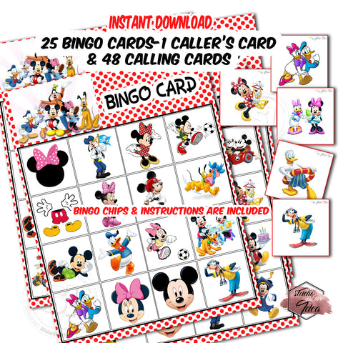 Mickey - Minnie & Friends Bingo Printable Game-25 different cards - 48 Calling cards & 1 Caller's Card -plus Bingo Printable Chips-Party Game Printable-INSTANT DOWNLOAD