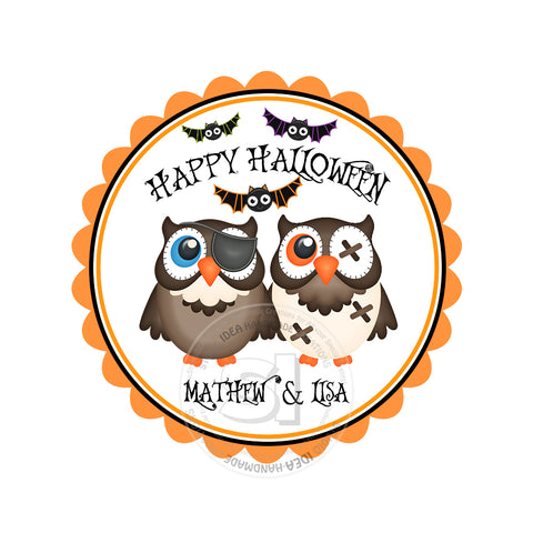 Happy Halloween Owls Custom Printable 2.5'' Tags-Personalized Happy Halloween-2.5 inches Tags- Party Favor DIY Stickers - Tags -Digital file