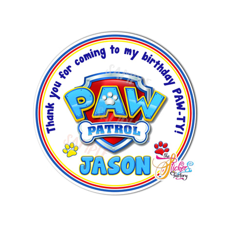 "Paw Patrol Thank you Tags 2.5"" Printable Paw Patrol Tags-Personalized Birthday, Baby Shower Thank you Tags-Digital File-YOU PRINT"
