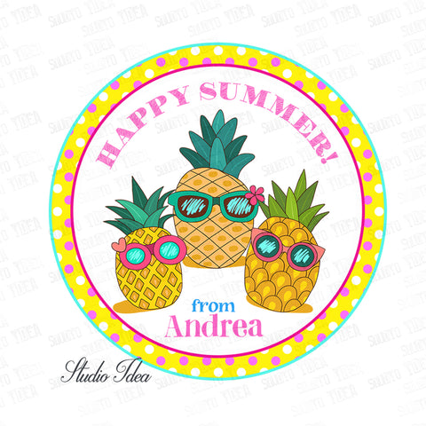 "Custom Happy Summer Thank you Printable 2.5"" Tags-Personalized cute Pineapples  2.5 inches Tags- Stickers DIY Favor Tags"