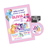 My Little Pony Birthday Party Printable Invitation with FREE Thank you Tag-DIY Digital File-Little Pony Friendship-Rainbow-Magical Birthday Invitation -You Print