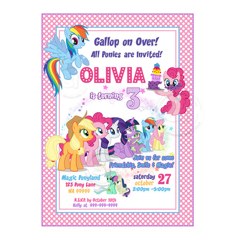 My Little Pony Birthday Party Printable Invitation With FREE Thank You Tag DIY Digital File Friendship Rainbow Magical