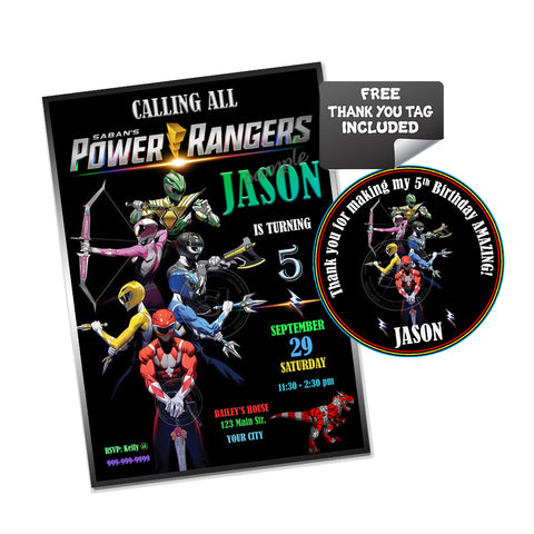 Power Rangers Custom Party Printable Invitation with FREE Thank you Tag-DIY Digital File-Personalized Power Rangers Birthday Invitation with tag-You Print