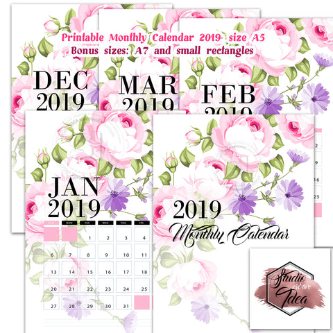 Roses Theme Printable Monthly Calendar 2019- INSTANT DOWNLOAD-Printable A5 size-Monthly Calendar with Bonus 2 smaller sizes & extra pages