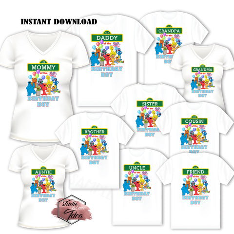 INSTANT DOWNLOAD-IRON-ON TRANSFER-Set of 10 Family-Friend Members SESAME STREET Inspired Theme IRON ON Transfers- Birthday BOY Elmo Party T-Shirt prints