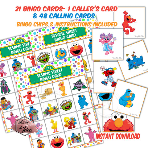 Sesame Street Bingo Printable Game-21 different cards - 48 Calling cards & 1 Caller's Card -plus Bingo Printable Chips-Party Game Printable-INSTANT DOWNLOAD