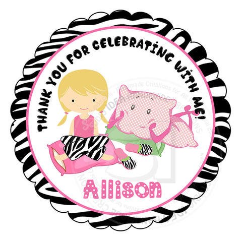 "Custom Sleepover -Pajama Party Printable 2.5"" Tags-Personalized slumber Theme Birthday 2.5 inches Tags- Stickers, DIY  Party Favor Tags"