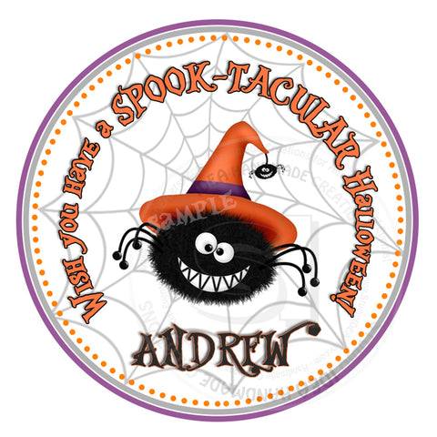 "Halloween Spider Stickers 2.5""- Personalized Happy Halloween - Funny Spider Stickers-Tags 2.5"""