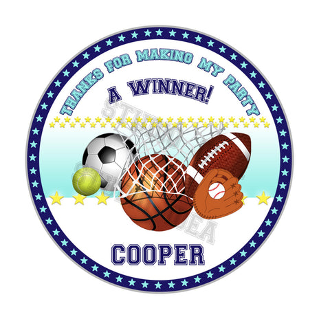 "Custom Sports Theme Party 2.5""Stickers-Personalized All Sports Birthday 2.5 inches Tags- Stickers"