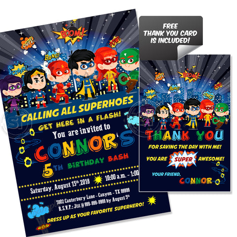 Custom Superheroes Party Printable Invitation With FREE Thank You Card DIY Digital File