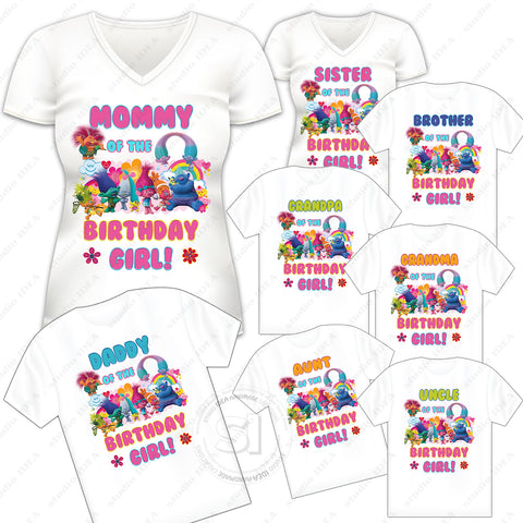 INSTANT DOWNLOAD-TROLLS IRON-ON TRANSFER-Set of 10 Family-Friend Members TROLLS Inspired Theme IRON ON Transfers- Birthday Girl Trolls Party T-Shirt prints