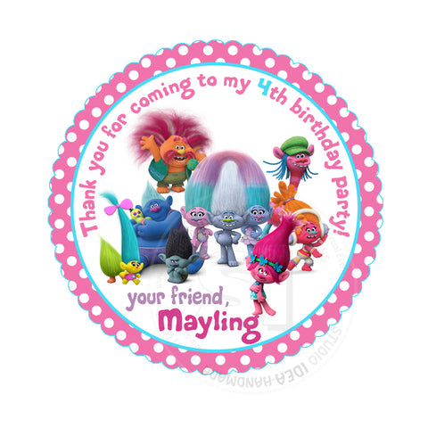 "Custom Trolls Birthday Thank you Printable 2.5"" Tags-Personalized Trolls Birthday party thank you 2.5 inches Tags-Stickers DIY Birthday Favor Tags"