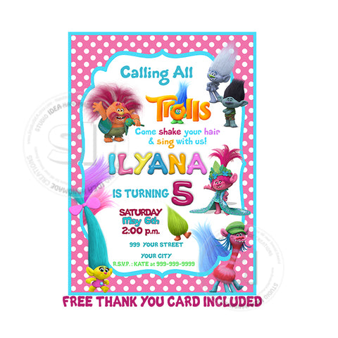 Custom Trolls Birthday Invitation with FREE Thank you card-Personalized Trolls Printable Birthday Invitations- DIY Birthday Invites and Thank you Cards