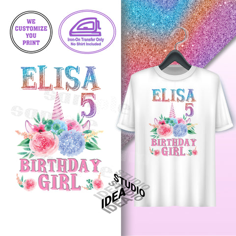 CUSTOMIZED-IRON-ON TRANSFER-BIRTHDAY GIRL- UNICORN Inspired Theme IRON ON Transfer- Unicorn Magical Birthday Girl Customized Printable file                                 Party T-Shirt prints