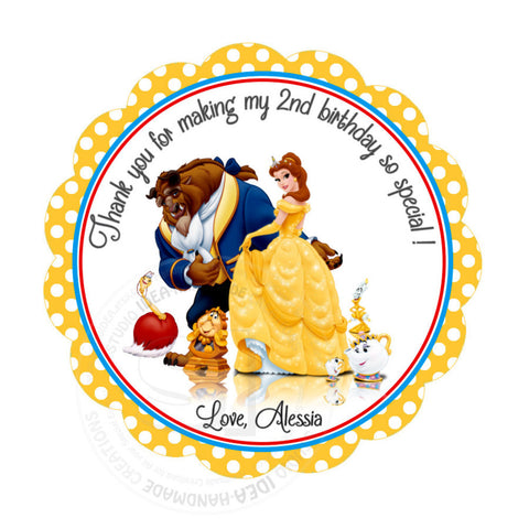 "The Beauty & the Beast Custom Party Printable 2.5"" Tags-Personalized Belle Scallop Personalized Thank you Tags- DIY Stickers, Favor Tags-Digital File"