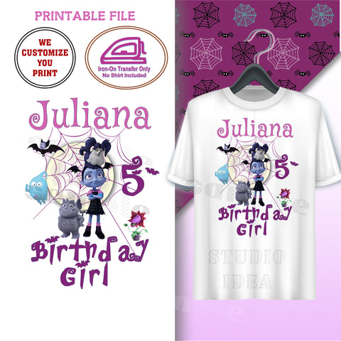 CUSTOMIZED-IRON-ON TRANSFER-BIRTHDAY GIRL- VAMPIRINA Inspired IRON ON Transfer- VAMPIRINA THEME Birthday GIRL-Customized Printable file Party T-Shirt prints