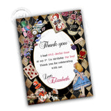 Alice in Wonderland Printable Invitation with FREE Thank you Tag-DIY Digital File-Vintage Style Birthday Invitation -You Print