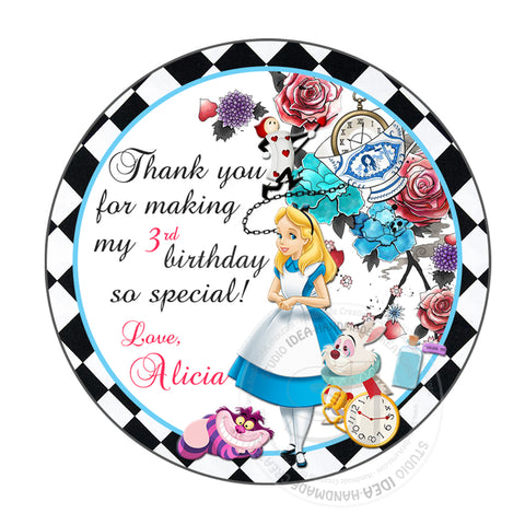 "Custom Alice in Wonderland Thank you Tags- Printable 2.5"" Tags-Personalized Alice in Wonderland Thank you Birthday 2.5 inches Tags- Stickers DIY Favor Tags"