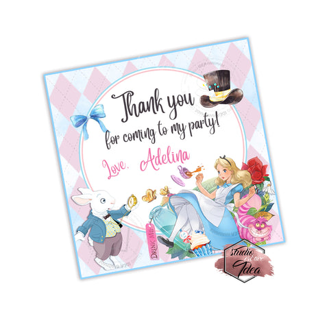 20 Alice In Wonderland Birthday Party Or Baby Shower Thank You Stickers Labels