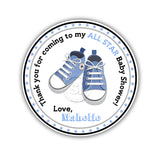 "Custom Baby Shoes-All Star Baby Shower Printable 2.5"" Tags-Personalized Baby Shower thank you 2.5 inches Tags- Pink or Blue Baby Shower Stickers DIY Favor Tags"