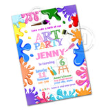 Art Party Printable Invitation with FREE Thank you Tag-DIY Digital File-Colorful Paint Splashes Birthday Invitation -You Print