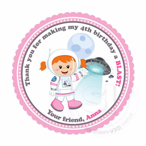 "Custom Astronaut Girl Birthday Thank you Printable 2.5"" Tags-Personalized Girl Astronaut Party Theme  2.5 inches Tags- Stickers DIY Favor Tags"