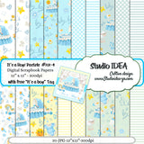 "Baby Boy Digital Scrapbooking Paper 12""x12""- 300dpi- Free- It's a Boy-Tag Included-Digital Design Paper- INSTANT DOWNLOAD"