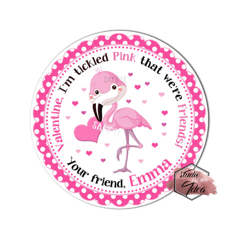 "Cute Pink Flamingo Valentine's day Custom Printable Tags- 2.5"" Tags-Happy Valentine's Day Personalized 2.5 inches Tags- Stickers DIY Favor Tags-cute Valentines tags"