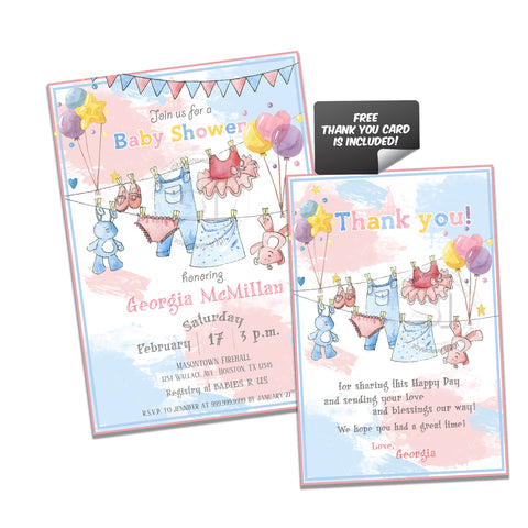 Baby Shower Party Printable Invitation with FREE Thank you Card-DIY Digital File-Baby Shower Twins-Boy and Girl- Party Invite -You Print