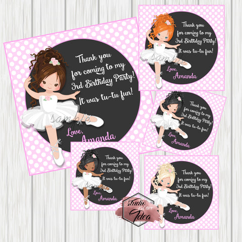 "Custom Ballerina White Tutu Birthday Thank you Printable 2.5"" Tags-Personalized Ballet Birthday 2.5 inches Tags-DIY Favor Tags-Stickers"