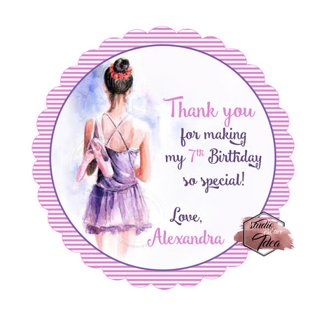 "Custom Ballerina Tutu Birthday Thank you Printable 2.5"" Tags-Personalized Ballet Birthday 2.5 inches Tags-DIY Favor Tags-Stickers"