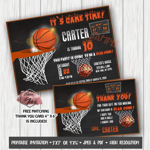 Basketball Theme Birthday Party Printable Invitation with FREE Thank you Card-DIY Digital File- Basket Birthday Party Invite -You Print