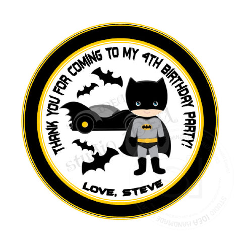 "Custom Superhero Thank you Printable 2.5"" Tags-Personalized Superheroes Bat Boy Theme  2.5 inches Tags DIY Favor Tags-Stickers"