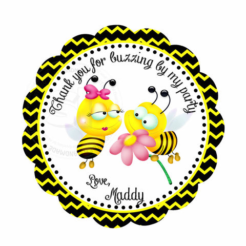 "Custom Bees Birthday Thank you Printable 2.5"" Tags-Personalized Bee thank you 2.5 inches Tags- Stickers DIY Favor Tags"