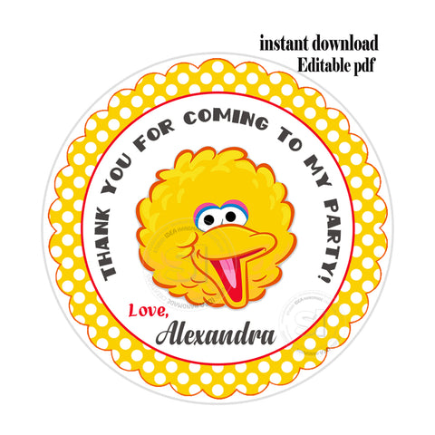 "Big Bird -Sesame street Party-EDITABLE-INSTANT DOWNLOAD- Sesame Street Personalized Printable 2.5"" Tags-INSTANT DOWNLOAD Tags- Stickers DIY Favor Tags"