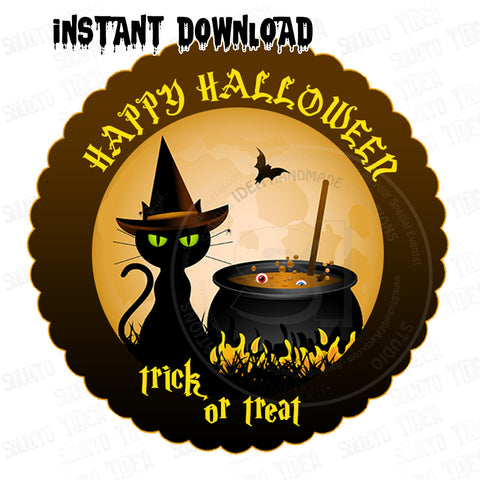 INSTANT DOWNLOAD-Halloween Trick or Treat - Black Cat-Printable 2.5'' Tags-Happy Halloween 2.5 inches Tags- Party Favor DIY Stickers - Tags -Digital file