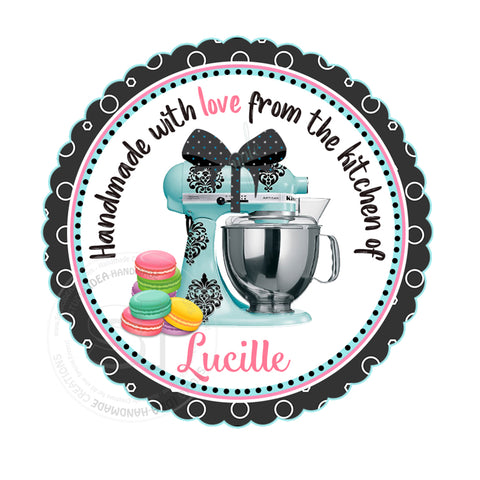 "Custom Bake- Kitchen Thank you Printable 2.5"" Tags-Personalized Kitchen Mixer & Macaroons 2.5 inches Tags- Stickers DIY Favor Tags"