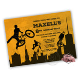 BMX Digital Party Printable Invitation with FREE Thank you Tag-DIY Digital File-BMX biking Birthday Invitation -You Print