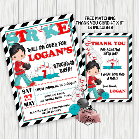 Bowling Party Printable Invitation with FREE Thank you Card-Boy Bowling Birthday Party Printable Invitation-DIY Digital File-Strike Birthday Invitation -You Print